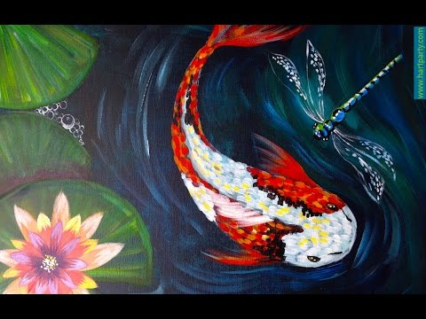 How to Paint Koi Fish Dragon fly and Waterlilies Easy Beginner Acrylic