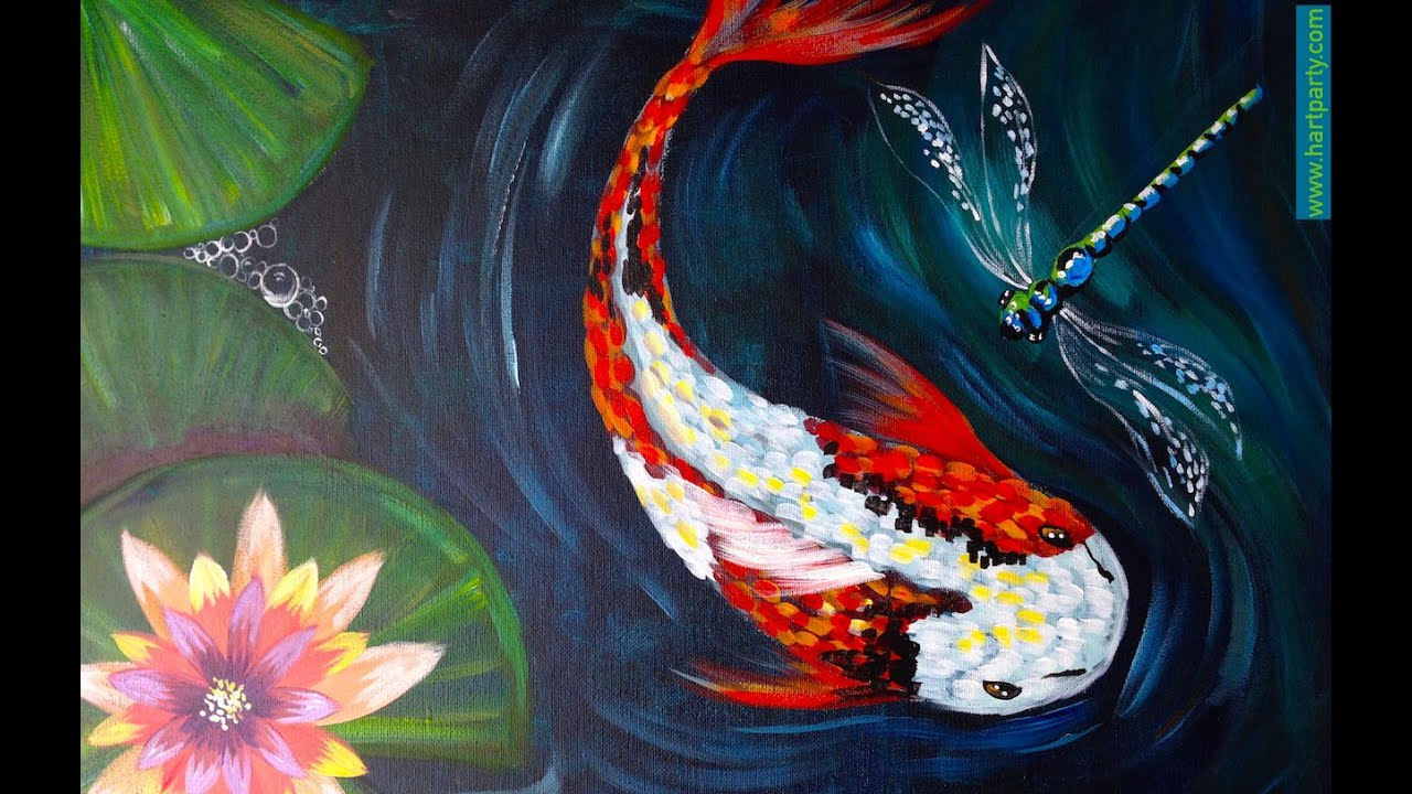How to paint koi fish dragon fly and waterlilies easy for Koi artwork on canvas