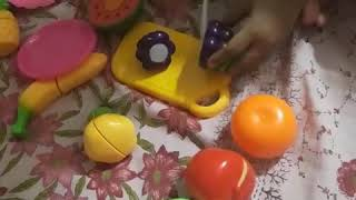 Cut Fruit Toys. Children's Play Toys Simulation Of Fruits.teaching Fruit To Children With Fruit Toy.