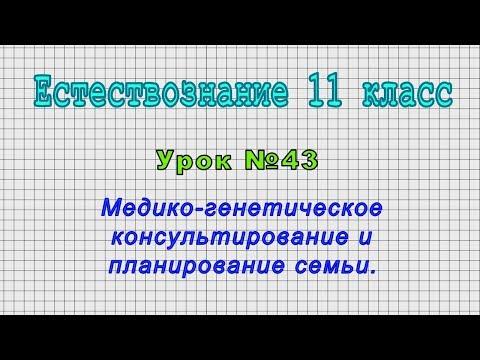 Естествознание 11 класс (Урок№43 - Медико-генетическое консультирование и планирование семьи.)