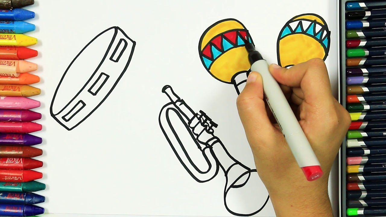 Come Disegnare E Colorare Strumenti Musicali Colori Disegno
