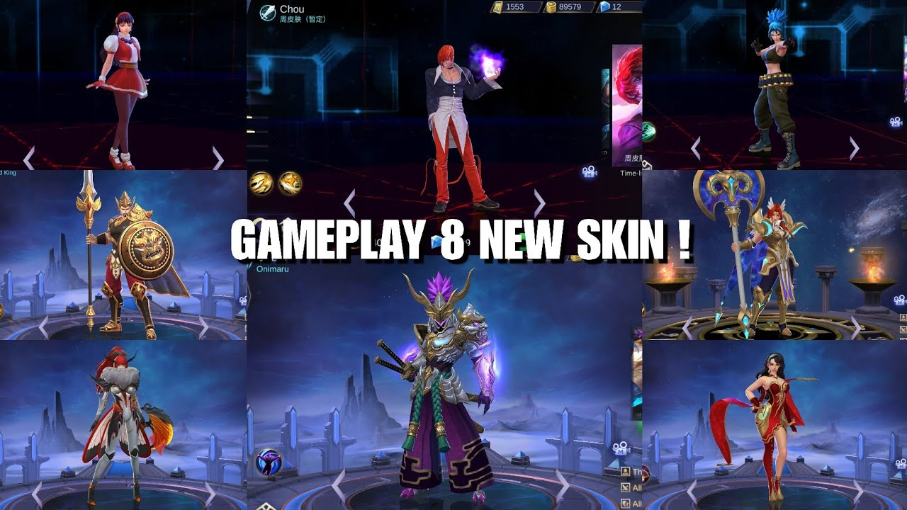 GAMEPLAY 8 NEW SKIN ! KoF Skin, Epic Saber, etc | Mobile Legends