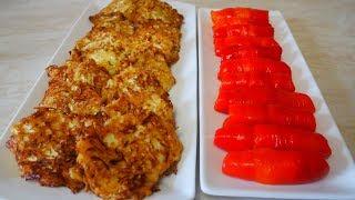 ПРОСТО но со ВКУСОМ оладьи на кефире из капусты ЛЕГКИЙ ужин и закуска с запеченными перцами
