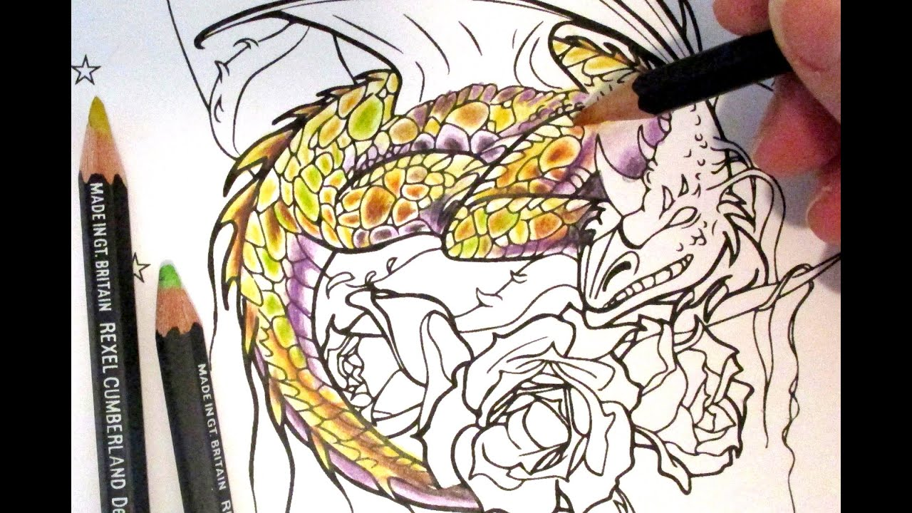 Colouring in a dragon - Colouring Tutorial How To Colour Dragon Scales With Coloured Pencils Youtube