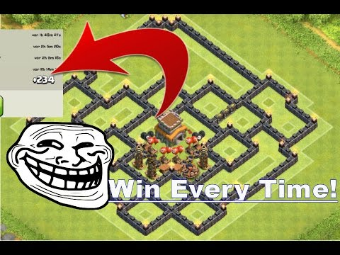 Clash of clans best town hall 8 th8 trolling base with air sweeper