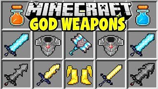 Minecraft GOD WEAPONS MOD | POWERFUL MINECRAFT SWORDS & ARMOR!!