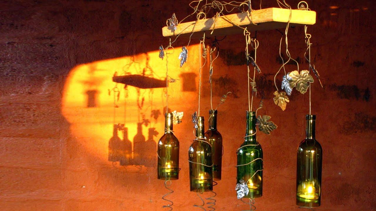 Sostenedor de vela hecho con botellas de vino recicladas - Botellas con velas ...