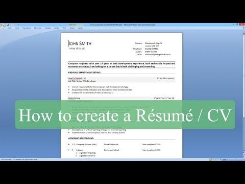 How to make a CV/Resume ?