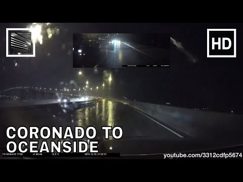 Driving from Coronado Island to Oceanside on Interstate 5 during rain