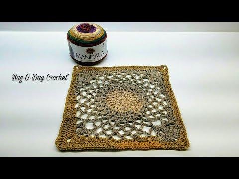 Learn How To Crochet Kaleidoscope 12″ Granny Square Crochet TUTORIAL #411
