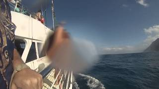 Kauai Catamaran ride on 15 foot swells view from outside boat
