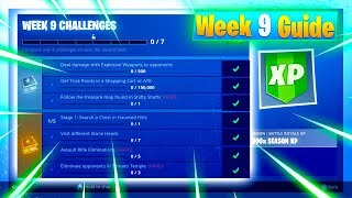"""ALL """"WEEK 9 CHALLENGES"""" Guide! FORTNITE UPDATE (Shifty Shafts Treasure Map, Get Trick Shots & More!)"""
