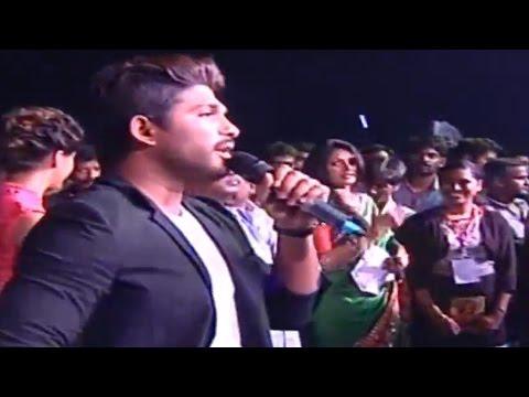 Allu Arjun Punch Dialogue On Stage - Rudhramadevi Audio Launch @ Warangal - Anushka, Rana