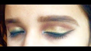 Simple golden eyes makeup tutorial