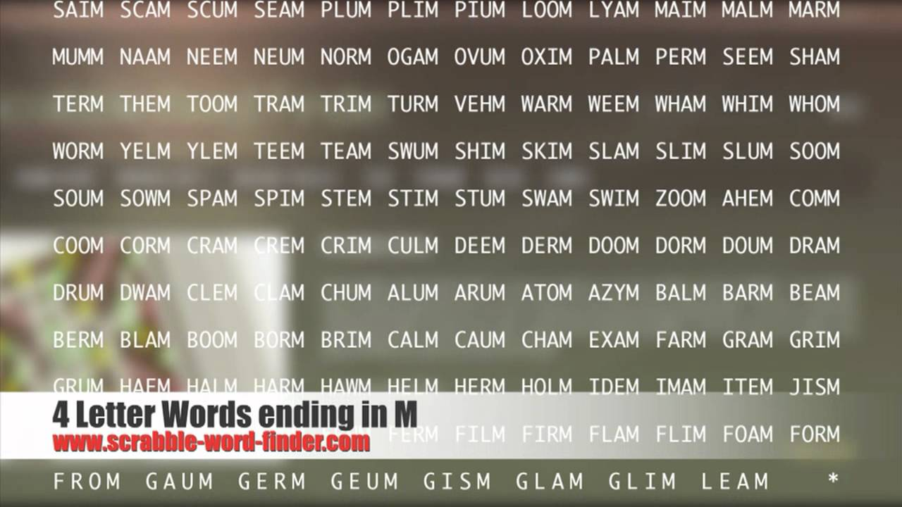 4 letter words ending in M   YouTube
