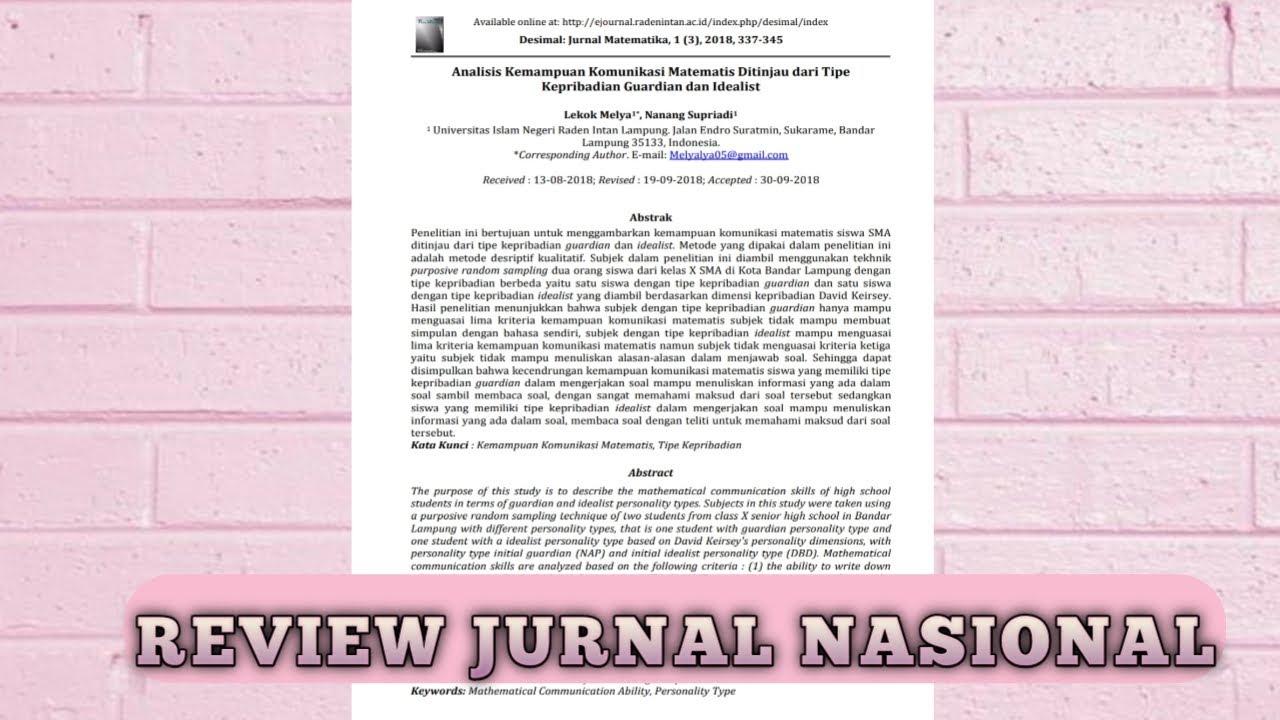 REVIEW JURNAL NASIONAL - YouTube