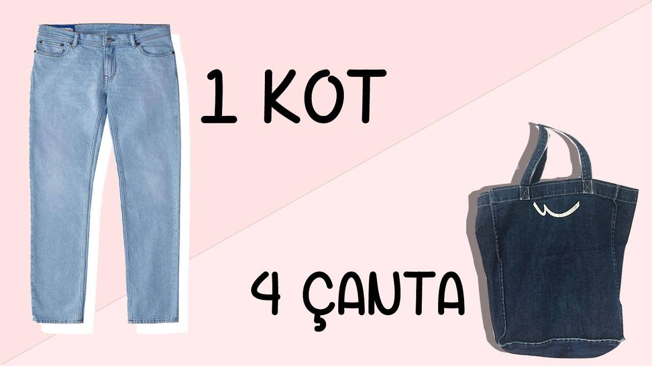 Eski Kot Pantolondan 4 Adet Çanta   4 Bags Out Of 1 Jean   DIY