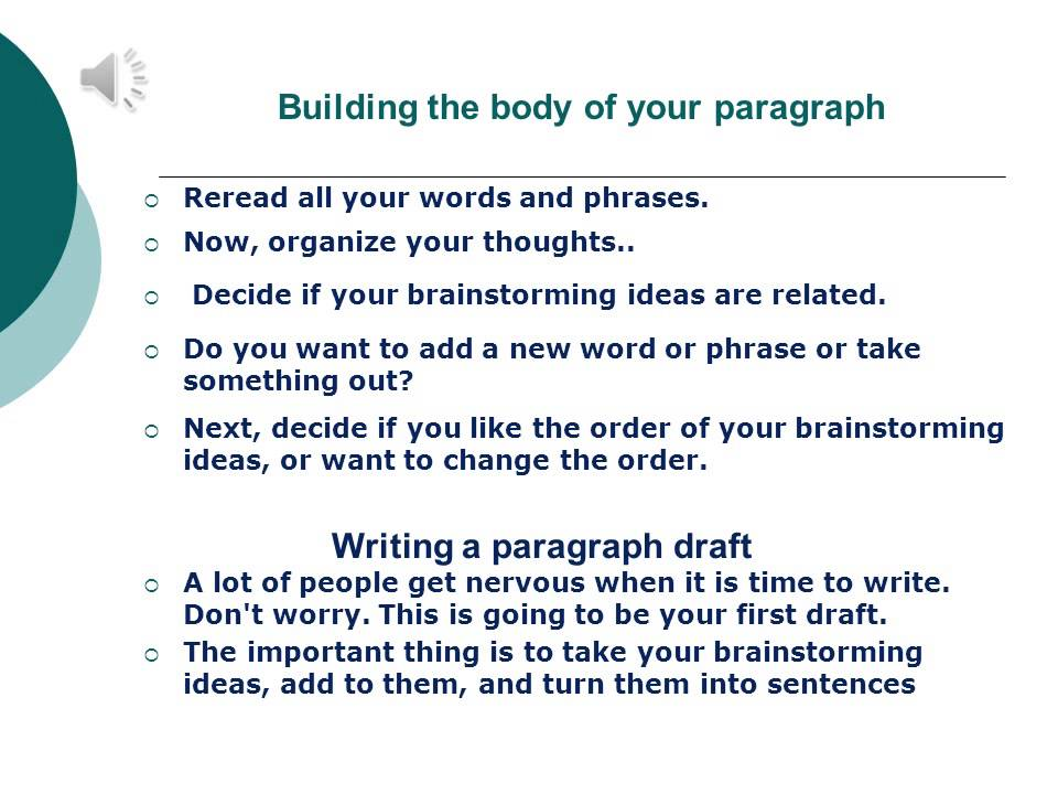 Writing a good paragraph esl