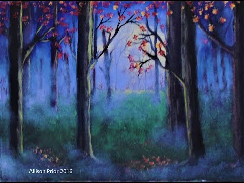How to paint a Misty Forest with acrylic paint for beginners