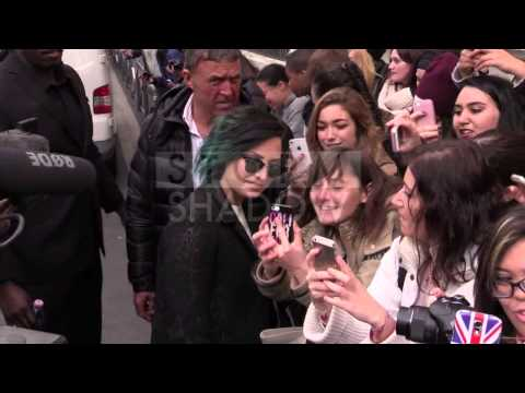 Demi Lovato giving it to the fan at NRJ radio station in Paris