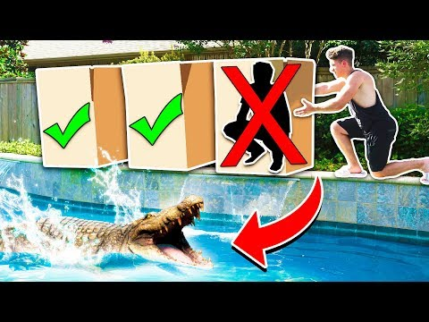 DON'T PUSH THE WRONG MYSTERY BOX INTO WATER! *POND MONSTER* with Unspeakable & MooseCraft