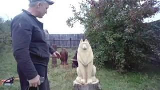 /Волк - 1/ Хобби резьба по дереву  скульптура !