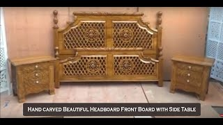 #34 Hand Carved Beautiful Headboard With Side Table Aarsun Handicrafts Woodworking | Bedroom Design