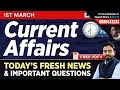 #252 : 1 March 2019 Current Affairs in Hindi | Current Affairs 2019 Questions + Static GK Tricks