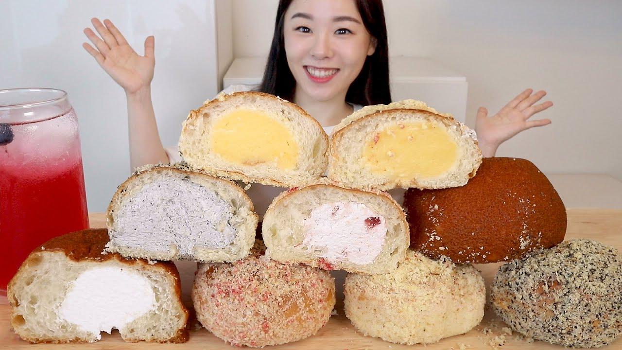 ASMR Cream Bread Mukbang 카스테라 흑임자 딸기 크림빵 먹방 🍰 홈플러스 몽블랑제 쿨크림번 생크림 모카번  Cream Puff Bun Mocha Chocolate
