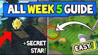 Fortnite WEEK 5 CHALLENGES GUIDE! Carte au trésor, SECRET STAR, Golf Ball -PLUS (Saison 5 Fortnite)