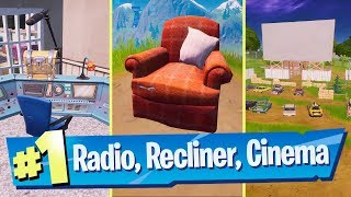 Visit a lonely Recliner, a Radio Station, and an outdoor Movie Theater Location - Fortnite Challenge