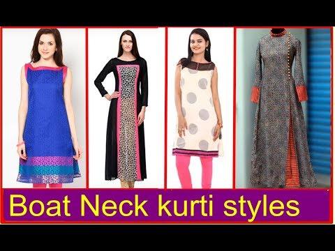 Latest Boat neck kurti styles - Trending kurta tops 2018   Our Glamor