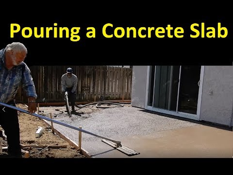 Pouring a Concrete Patio ~ Awning Finishing Grout Pump & Truck