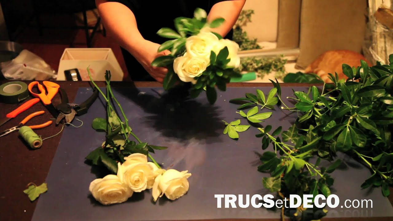 Faire un bouquet rond tutoriel par youtube - Centre de table a faire soi meme ...