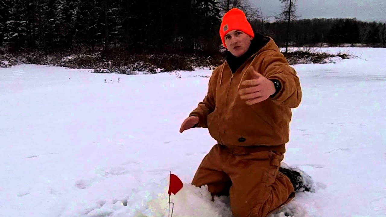 tip up flag trick for ice fishing youtube