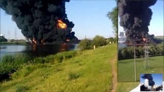 Пожар на Москве-реке в районе Марьино (Горит Москва-река) 12.08.15