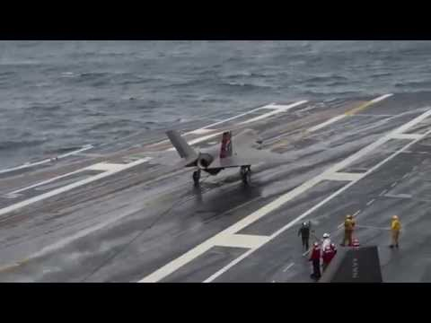 The F-35C lands aboard USS Dwight D. Eisenhower (CVN 69)