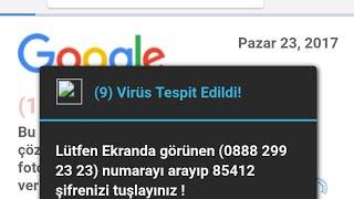 Telefonunuzda virüs tespit edildi uyarısı geliyor. ÇÖZÜM!!