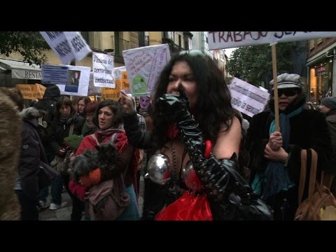 Prostitutes take to the streets of Madrid in protest