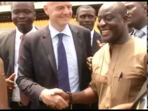 FIFA President Gianni Infantino tours Accra sports stadium
