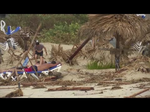 Tourists in Cuba visit beach after Irma