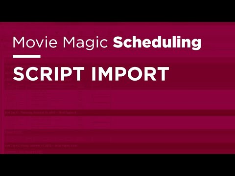 Movie Magic Scheduling - Script Import