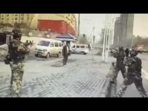 Chinese Army roasting Islamic Terrorists in Ürümqi, Xinjiang province