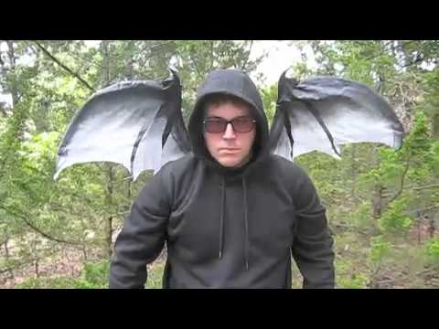 gray moving red dragon bat wings halloween costume accessor