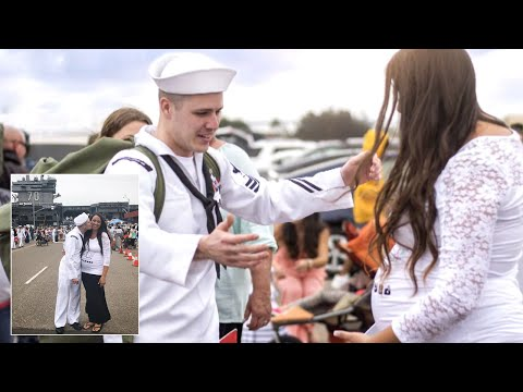 Download Youtube: Navy Husband Returning Home Is Surprised by Wife's Baby Bump