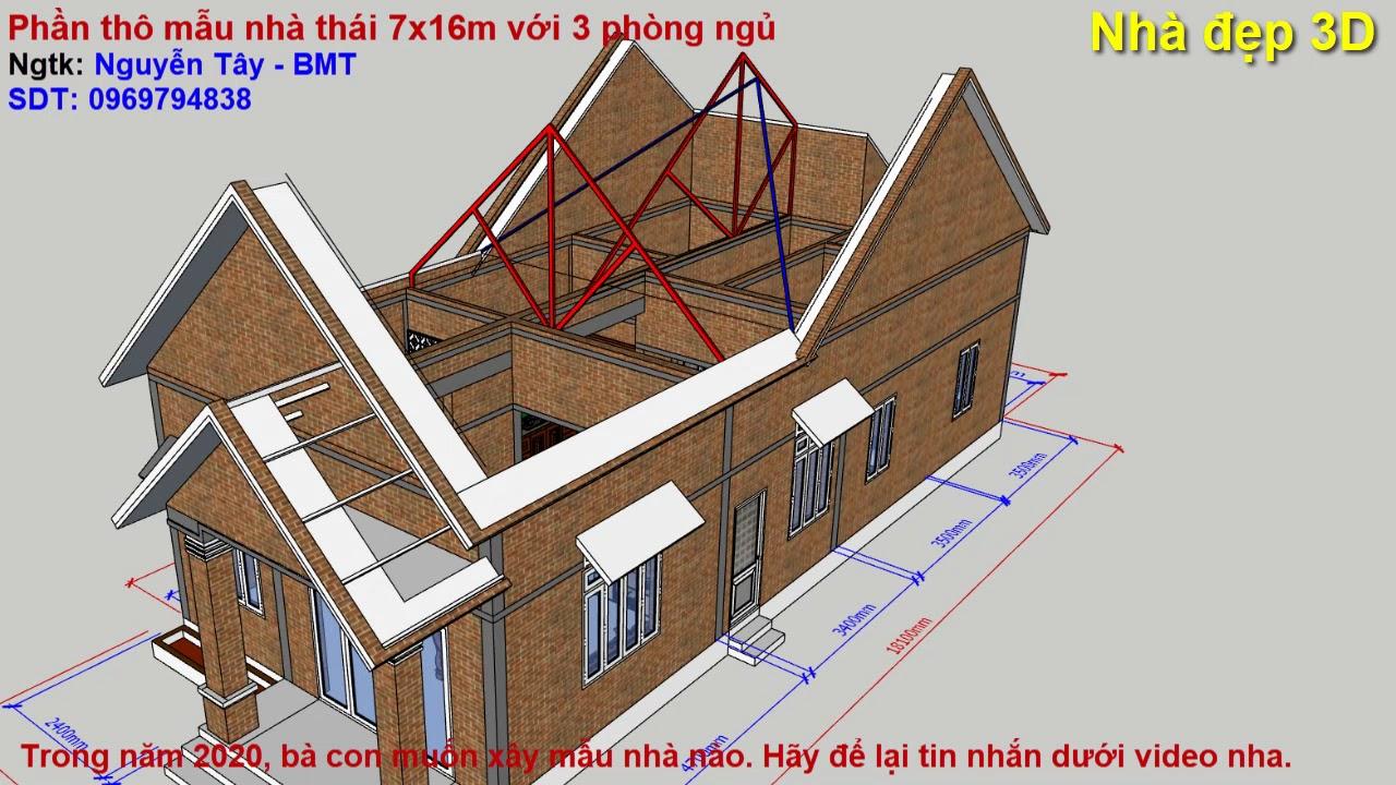 XEM là làm được – Mẫu nhà mái thái + phần kết cấu | Simple house