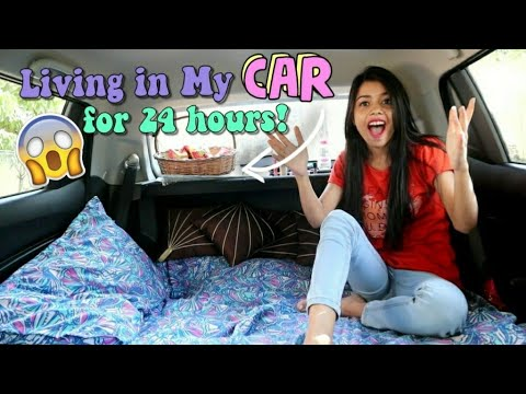Living in my car for 24 HOURS!! *and this is what happened* 😱😭