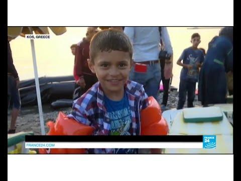 Greek Island migrant crisis: Syrian refugees register on Greek ship