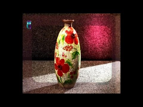 Decoupage. Make vases of usual glass bottles using glass pai