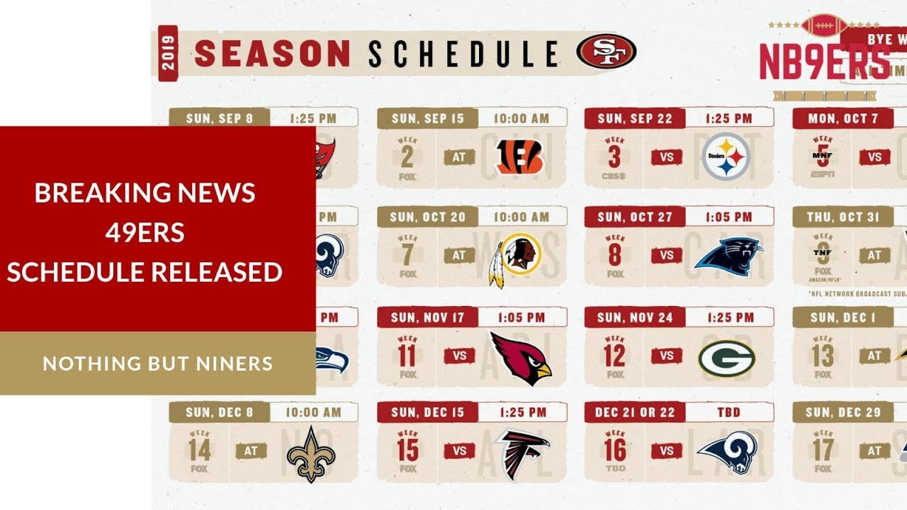 Divine image pertaining to 49ers schedule printable